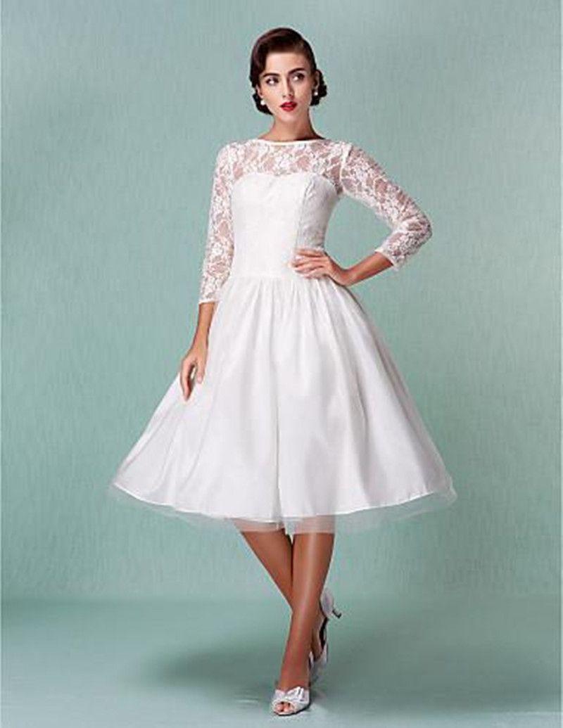 새로운 오는 Vestido de Noiva 짧은 웨딩 드레스 3 분기 슬리브 W002 깎아 지른 현대 무릎 길이 레이스 신부 가운 공주 저렴한