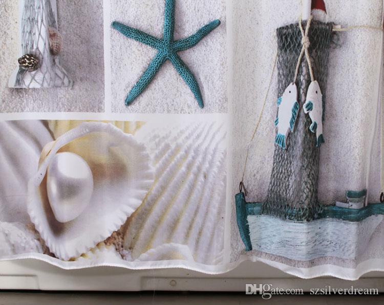 Chegada nova Dos Desenhos Animados À Prova D 'Água Cortinas de Banho Conchas de Praia Moderna e Estrela Do Mar Do Banheiro Cortinas de Chuveiro 70