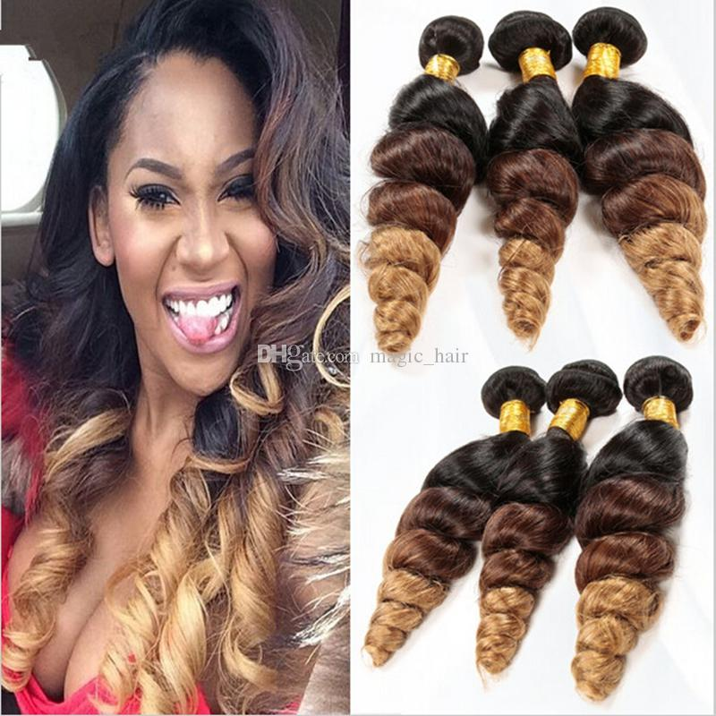 Ombre Three 3 Tone Brazilian Hair Loose Wave Weave 3 Bundles 1b427