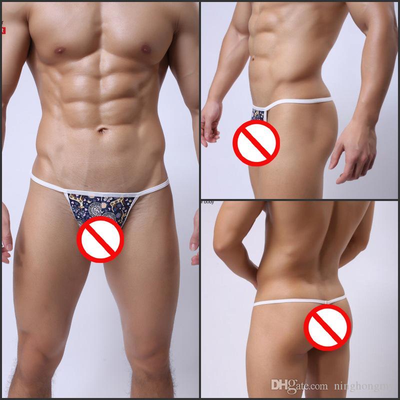 Men's ice silk mini micro bikini Briefs Hipster penis pouch thongs g strings tangas T back panties low waist printing deer gay underwear