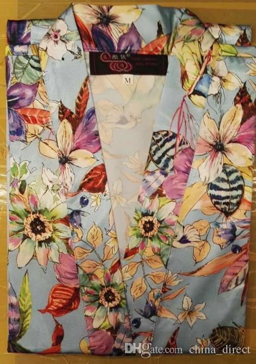2017 Frauen Satin Seide Blumen Robe Damen Pyjama Dessous Nachtwäsche Kimono Badekleid pjs Nachthemd # 4004