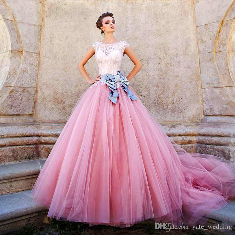 2017 Pink Ball Gown Prom Dresses Beaded Bodice Cap Sleeves Satin ...