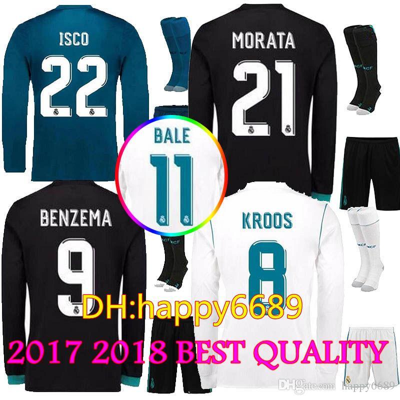 Compre 17 18 Camiseta De Fútbol De Mangas Largas Del Real Madrid Juego  Completo Camiseta De Fútbol De Visitante De Casa De Madrid Casemiro Bale  Ronaldo ... 6e24795fe600b