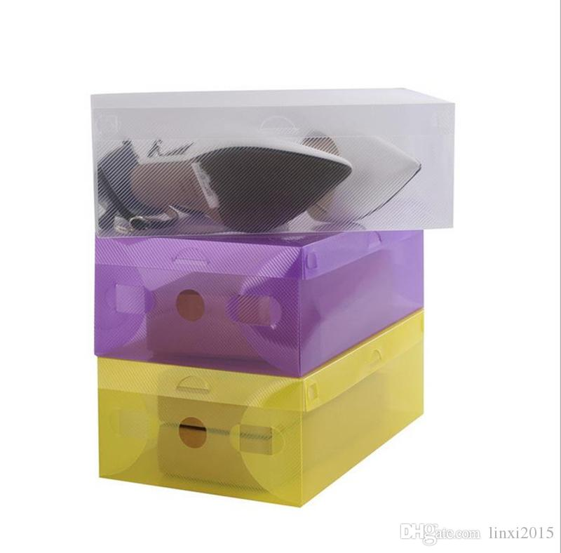 Hot Sell CLEAR DIY plastic FOLDABLE storage box for SHOES Random Send Colors Transparent plastic box