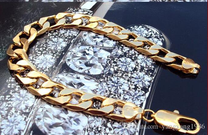 """Wholesale - real fine 14K REAL YELLOW GOLD Noble MEN'S BRACELET 37g HOT 9"""" FIGARO CHAIN GF"""