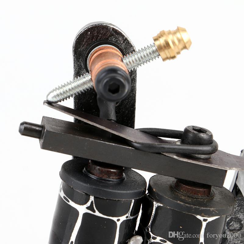 HOT! NEW Design Handmade Cast Iron Tattoo Machine Gun 10 Wrap Coils Shader Tattoo Machine TM8327