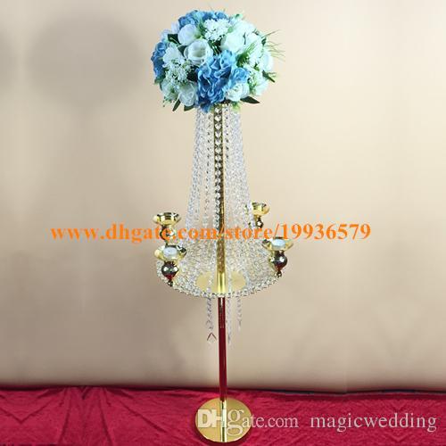 Hot sale 90cm unbrella-type silver and gold wedding flower stand, wedding decoration centerpieces,table flower stand decortaion