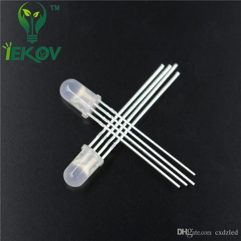 High Quality 5mm Diffused COMMON Cathode RGB LED Red Green Blue 4Pins Tri Color Emitting Diodes F5 RGB Diffused LED LIGHT