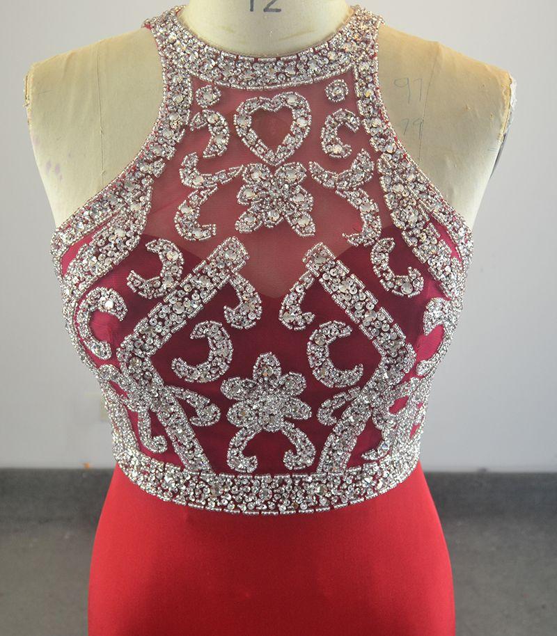 Réel Simple Rouge Sirène Robes De Bal Halter Cou Robe De Bal De Cristal Perles Étage Longueur robe de festa Robes De Fête