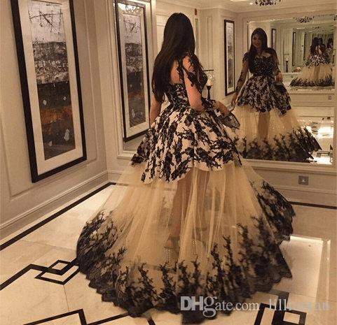 2016 tendance arabe robe de bal robes de soirée en dentelle noire robe de bal Champagne tulle appliques arabes Arabian Dubaï manches longues robes capet rouge