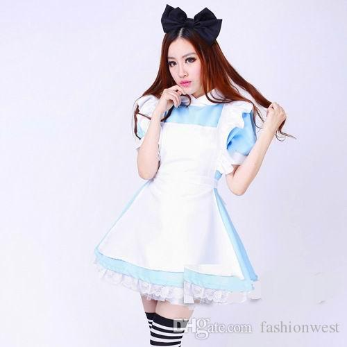 Chicas superventas japonesas Alice In Wonderland Fantasía Azul claro Tone Lolita Maid Outfit Maid Costume Maid Dress