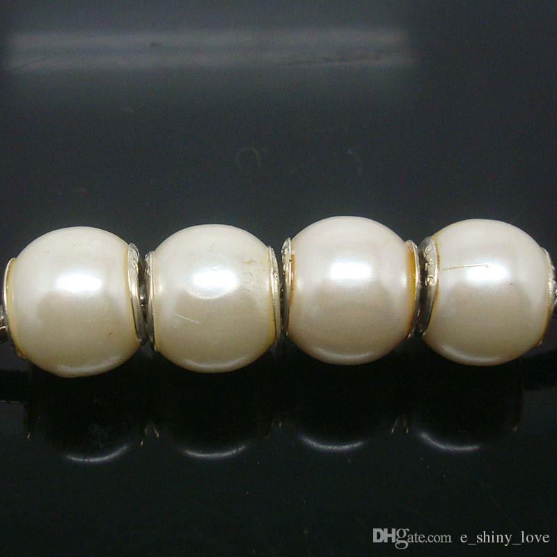/ 아름다운 흰색 색상 모조 진주 실버 코어 유럽 큰 구멍 아크릴 비즈 저렴한 가격을 만드는 보석에 대 한