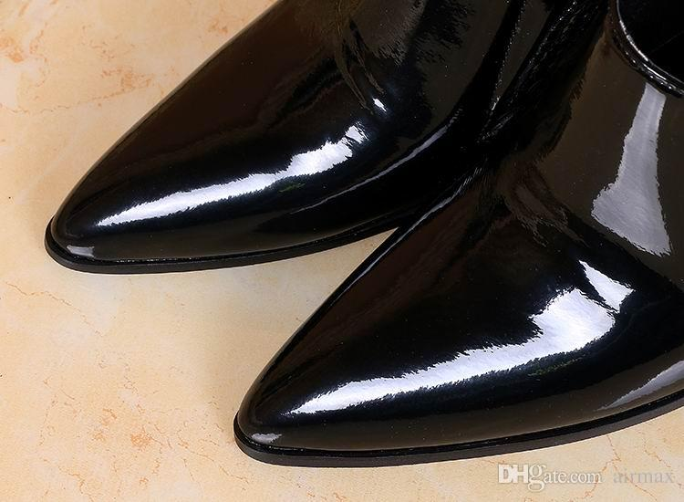 뜨거운 판매 럭셔리 남성 비즈니스 레저 드레스 신발 패션 특허 가죽 슬립 플랫 신발에 대 한 남성 office 파티 신발 38-46