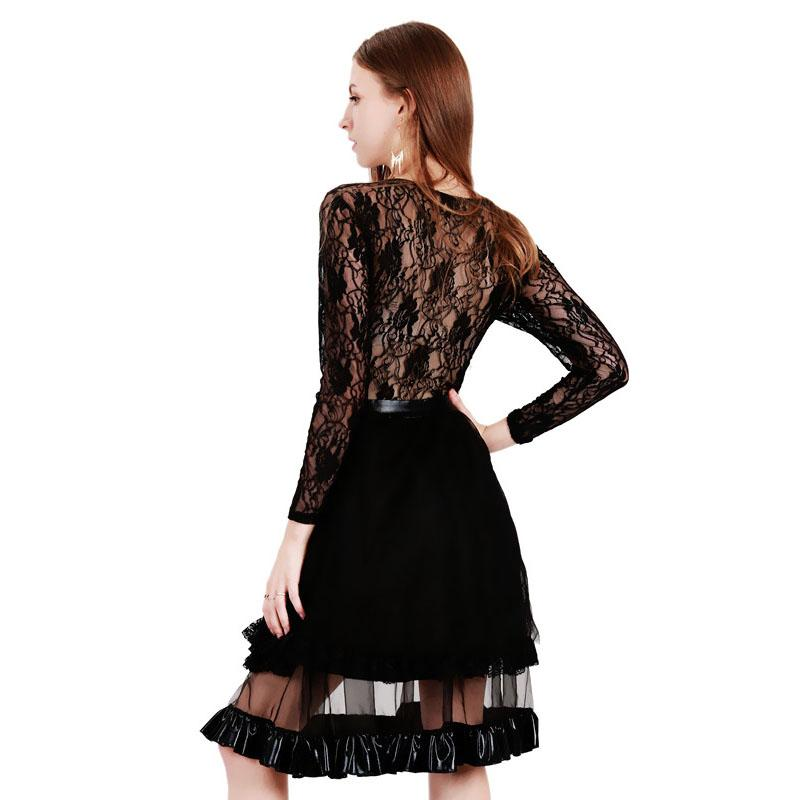 Elegant Vintage Wetlook Vinyl Leather Dress Robe Dentelle Women Black Lace Patchwork Long Sleeve A-Line Club Party Dress XXL WB009017