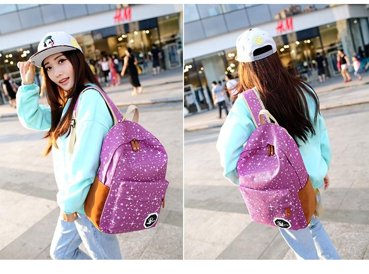 Wholesale Women Canvas Backpack Cute stars Printing Backpacks Girls Travel School Bags For Teenagers Mochila Shoulder Rucksack student bags