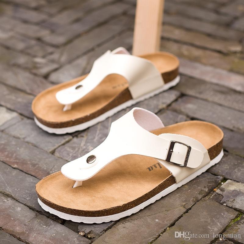 Chanclas de verano de espuma suave corcho sandalias zapatillas hombres mujeres amantes de la playa zapatos pisos resbalón en sandalias zapatos mujer hombre