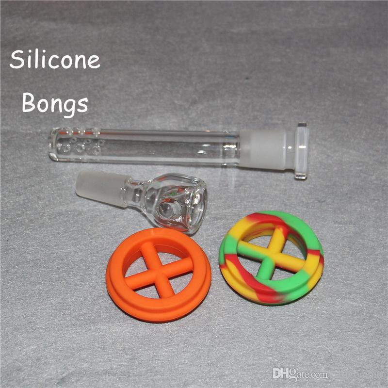 Hot Sale high quality Silicone bong For Smoking Bongs Glass/Silicone Water Pipe Dab Jar Dabber Wax silicone water pipes via DHL