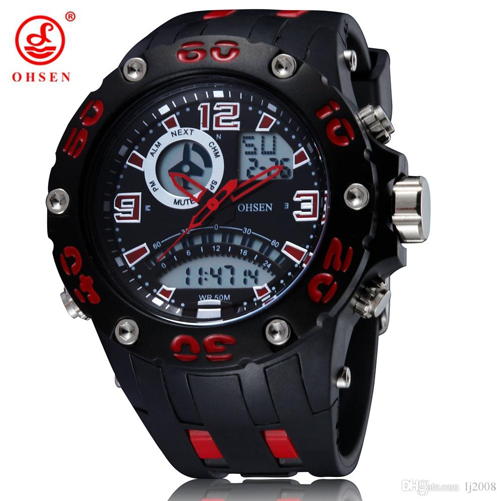 8653897076a OHSEN digital Led quartz military mens watch relogio masculino big size  dial Rubber strap 50M waterproof red fashion wristwatch Relojoes