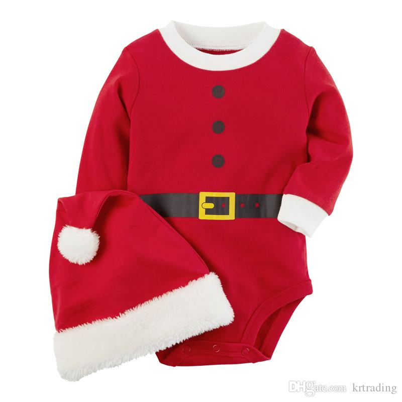 116087a76bb5 2019 Baby Christmas Romper Sets Red Pompon Santa Hat+Red Romper ...