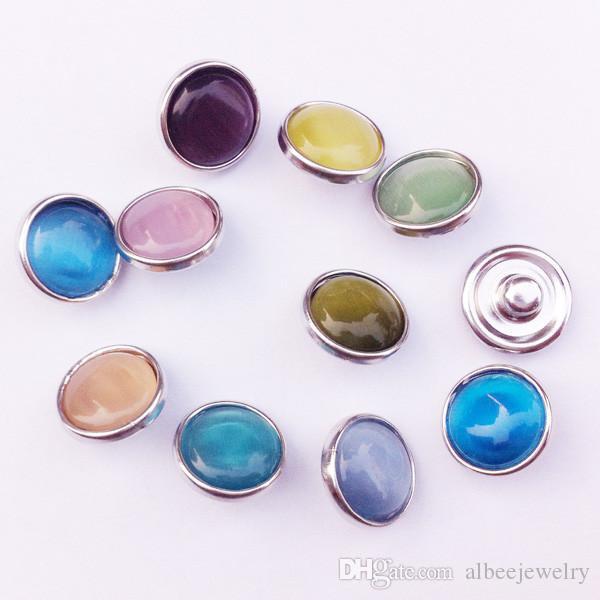 / Mélanger Couleurs Fashion Résine Cat Eye rond NOUSA Chunks Métal Ginger 12mm Snap boutons pour les conclusions de bijoux de bricolage