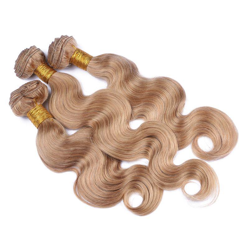 9A 말레이시아 바디 웨이브 인간의 머리카락 3 번들 레이스 클로저 4 개 / 많이 꿀 금발 금발 # 27 머리 폐쇄 4x4