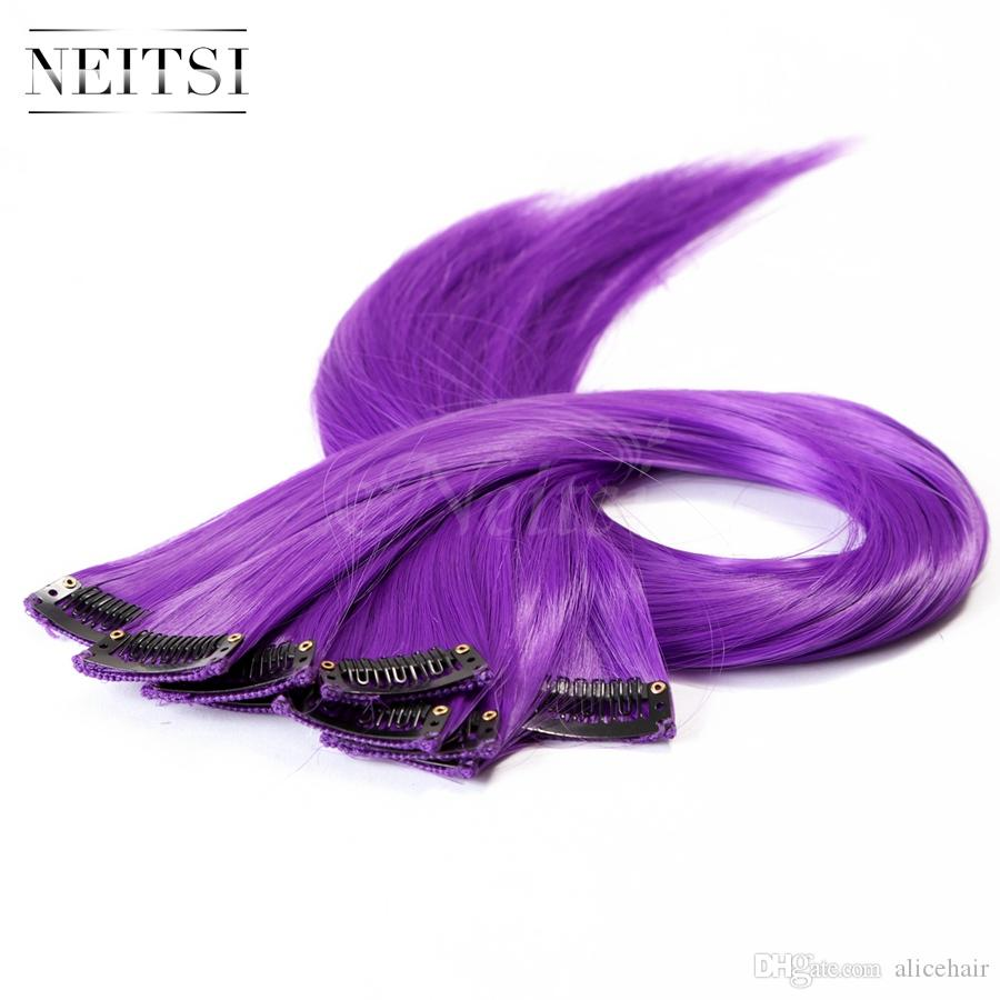 Neitsi 18 80g Purple Straight Synthetic Clip In Hair Extensions