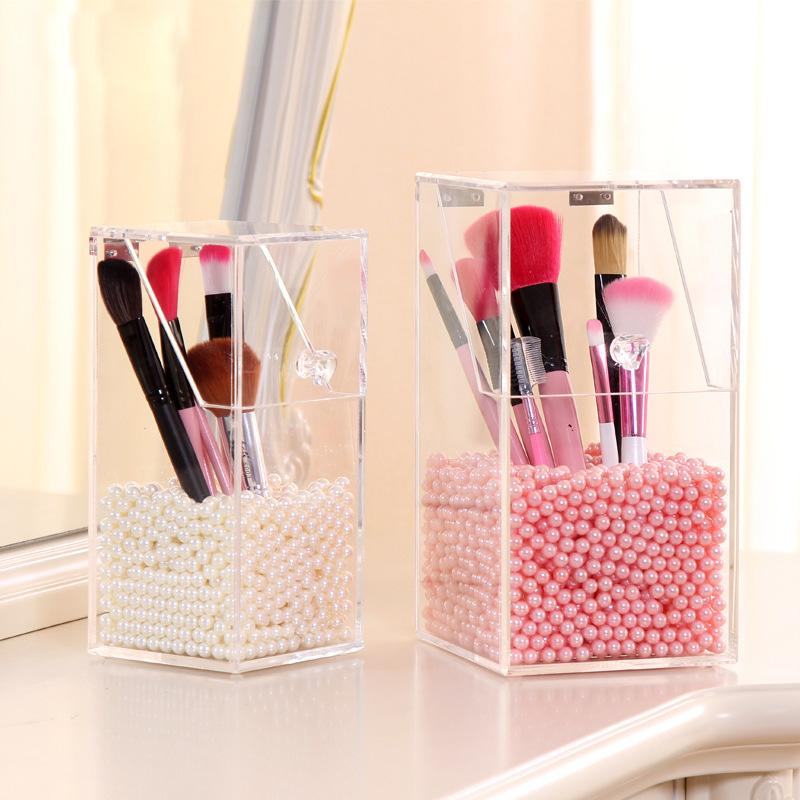 Marvelous Fashion Crystal Acrylic Makeup Brush Storage Box Organizer Case With Beads  Cosmetic Box Holder Lipstick Case For Beauty Girl Cosmetics Brands Craft  Storage ...
