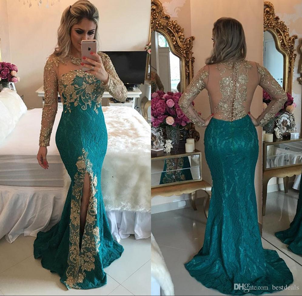 Good Quality Dark Green Mermaid Lace Evening Dresses 2017 Jewel Sexy Sheer Back Long Sleeves Split Front Celebrity Dresses Party Dresses