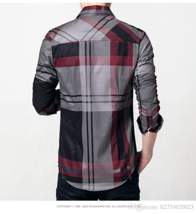 New authentic men's cotton plaid shirt men leisure long-sleeved cotton plaid shirt authentic lapel cotton plaid shirt