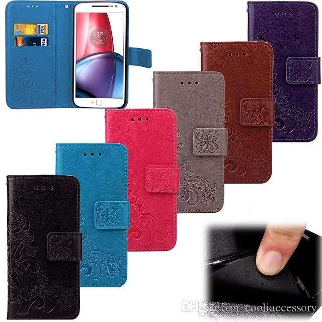 Strap Flower Wallet Flip Leather Pouch Case For Motorola MOTO Z Force G4 G 4 Gen G4 Plus Lucky Grass Stand TPU Clover Card Money Skin Cover