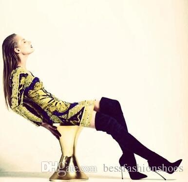 بوتاس موهير 2017 الأزياء أشار تو الجوارب الطويلة تمتد cuissard فوق الركبة الأحذية خنجر عالية الكعب فو الجلد المدبوغ الفخذ أحذية عالية النساء