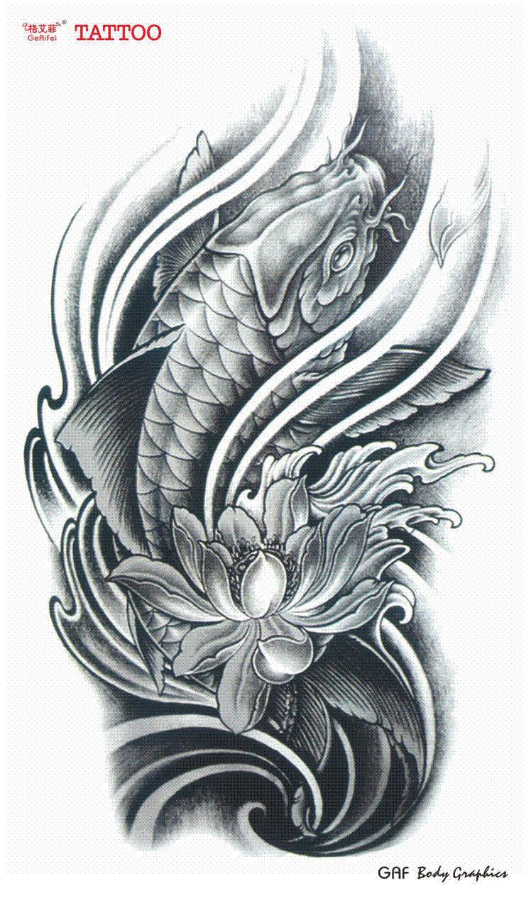large temporary tattoo stickers waterproof women men high quality koi carp lotus flower designs. Black Bedroom Furniture Sets. Home Design Ideas