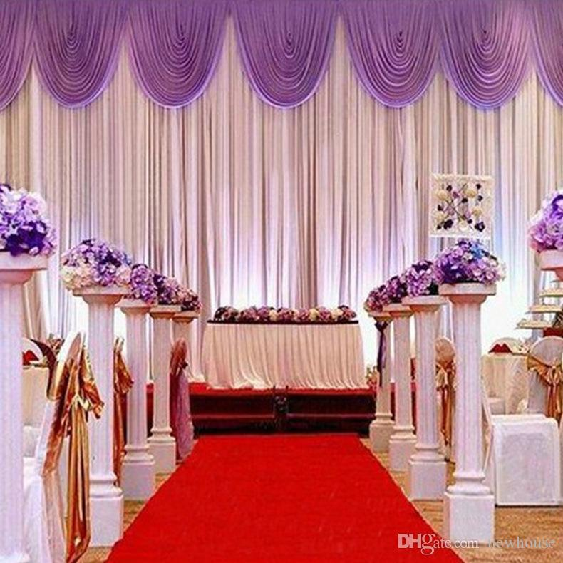 3m6m White Ice Silk Wedding Backdrop Curtain With Swags Wedding