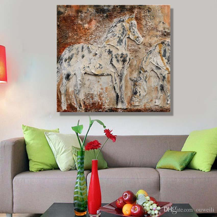 Contemporary canvas art work decor of chinese famous horse running pictures handmade abstract horse oil painting