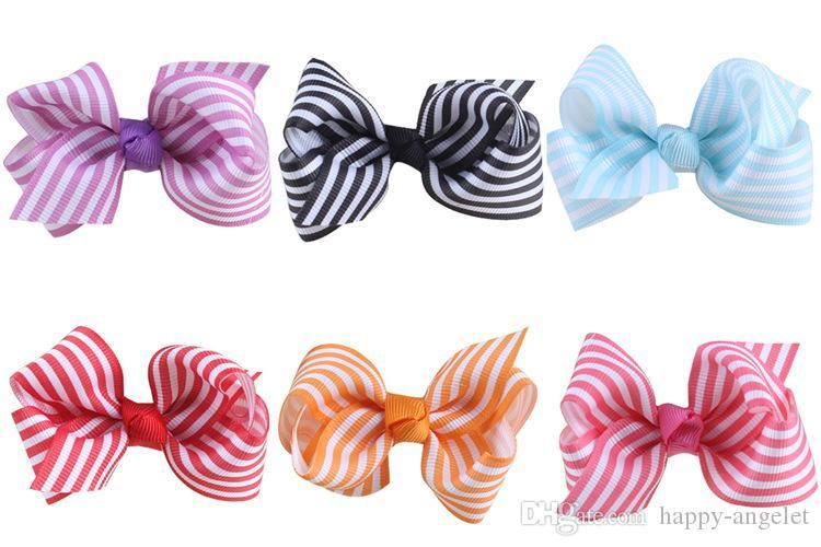 20 stks Boutique 10 kleuren 3 inch Grosgrain Stripe Ribbon Boog Haaraccessoires Strik Knot met Alligator Clip Haar Bobbles Ties HC032