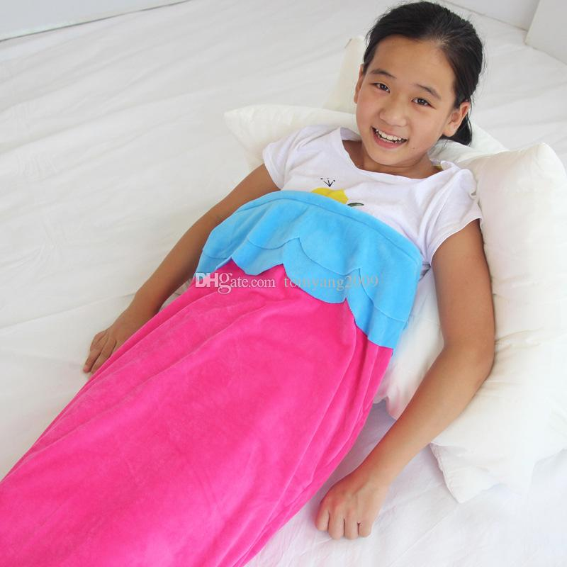 Hot Mermaid Tail Blanket Kids Size Flannel Bed Blanket Soft Baby Girl Sleeping Bag Mermaid Blankets Christmas Gift Blanket Camping Blankets