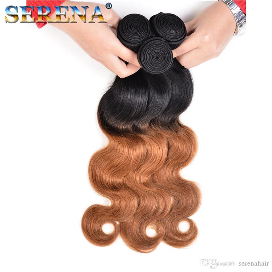 Il la cosa migliore Tessuto dei capelli di Ombre Due toni biondi 1B 30 capelli umani dell'onda del corpo del brasiliano Bundles dei tessuti Estensioni dei capelli poco costose Miele biondo scuro Capelli