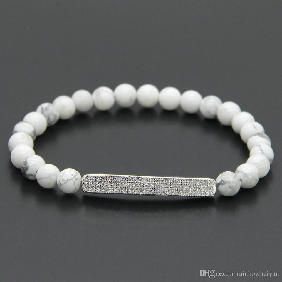 Commercio all'ingrosso 10 pz / lotto bar estivi gioielli in zircone 6mm bianco Howlite marmo pietra con micro intarsio pavimenta perline tubi bracciali uomo