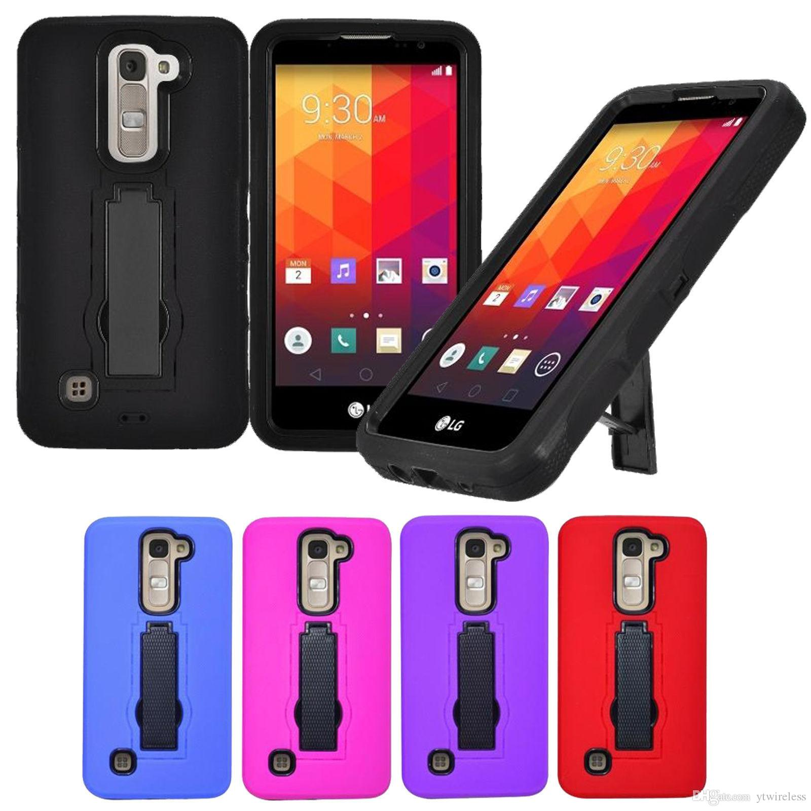 Wholesale PC Silicone Cheap Soft Hard Hybrid Cases Durable Defender Kickstand Armor Case Back Cover for LG G5 LG G4 Aristo 2 X210