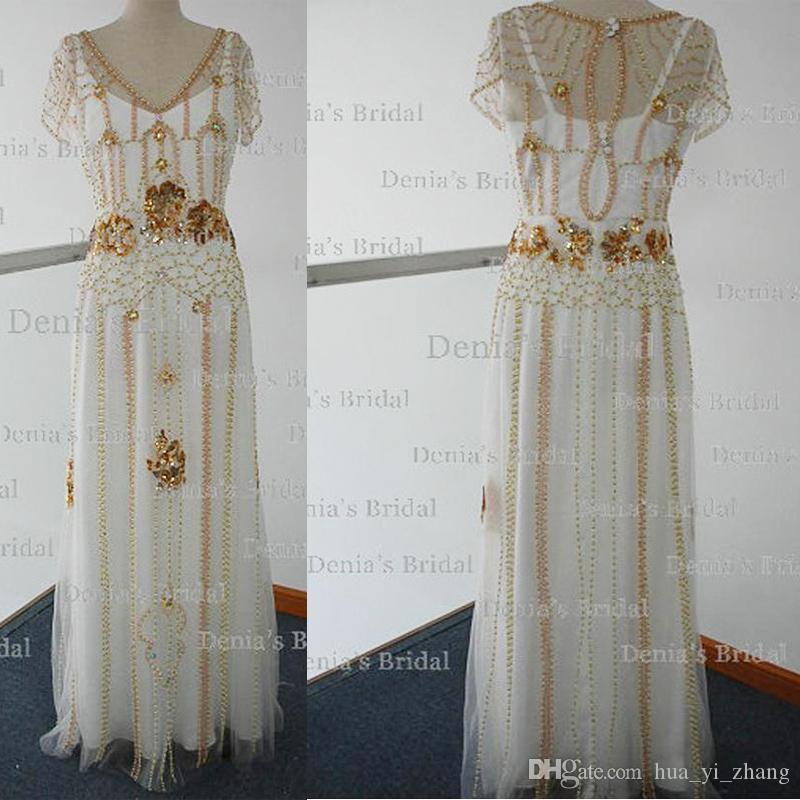 2017 Real Images Beaded Wedding Dresses Sheath with Embroidery Inner Bling Chapel Train Wedding Gowns Dhyz 01