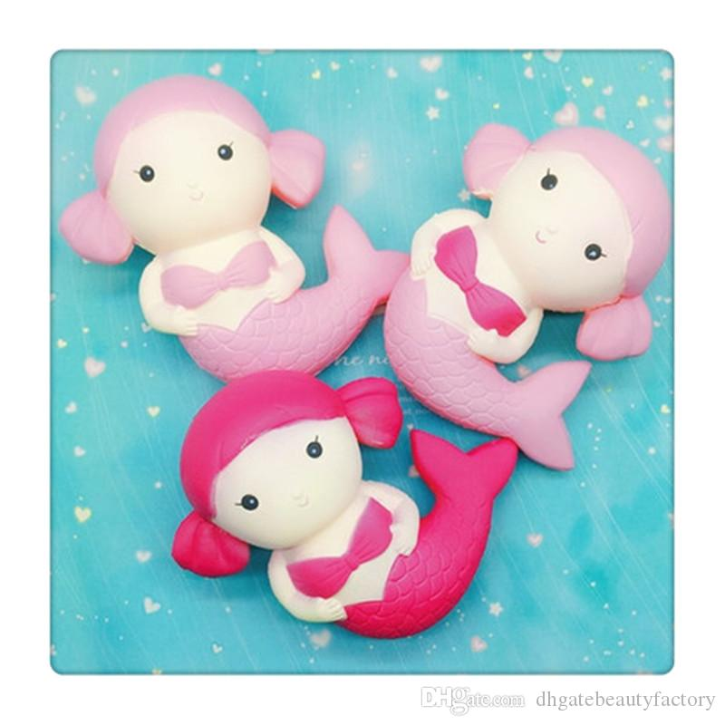 Cartoon Soft Squishy Mermaid Scented Kawaii Squishies Slow Rising Fruit Strawberry Key Chain For Cell Phone Strap Kid Christmas Gifts DHL