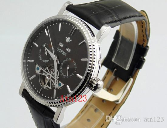 Ossna 40mm Steel Sase BLack/White Mechanical Automatic Shining Bezel Watch 3ATM Water Resistantance Rating Wristwatch 1600/1601/1602