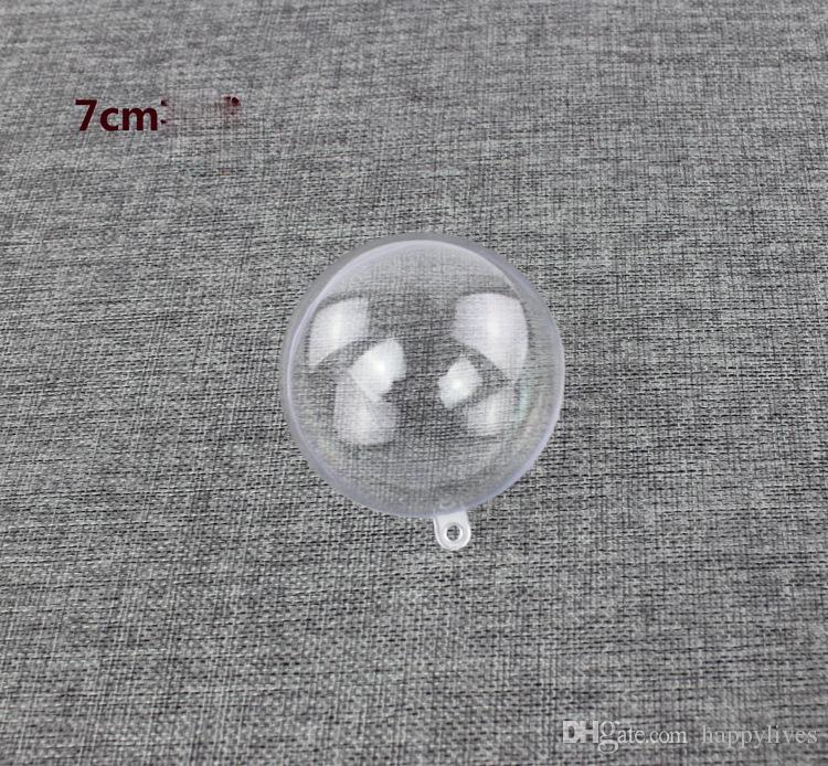 Limpar Bola De Plástico 8 cm De Plástico Transparente Decorações De Natal Pendurado Baubles Bola Ornamento Xmas Árvore Decoração Do Partido Claro Enfeites De Fillable