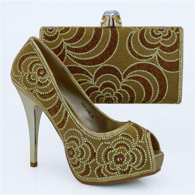 High quality rhinestone pattern high heel 12CM ladies pumps african shoes match handbag set for party dress 1308-L78 gold