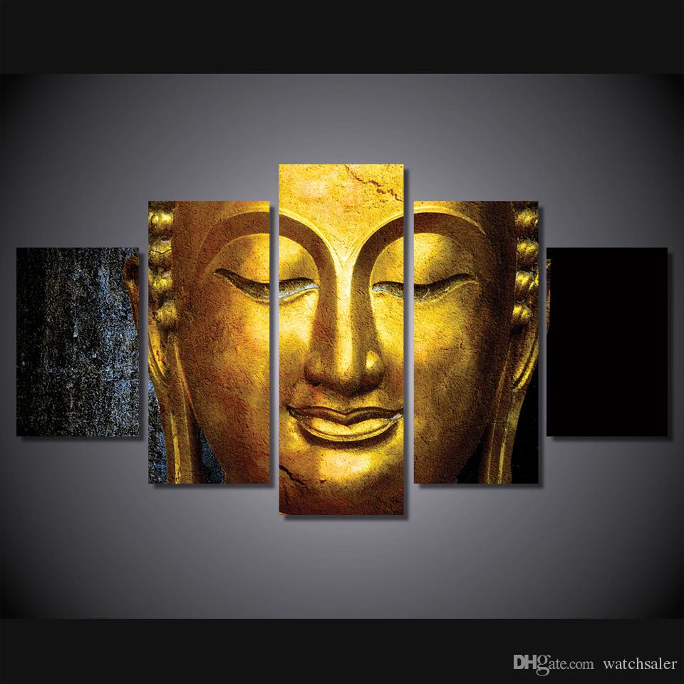 2019 Hd Printed The Golden Buddha Painting Canvas Print