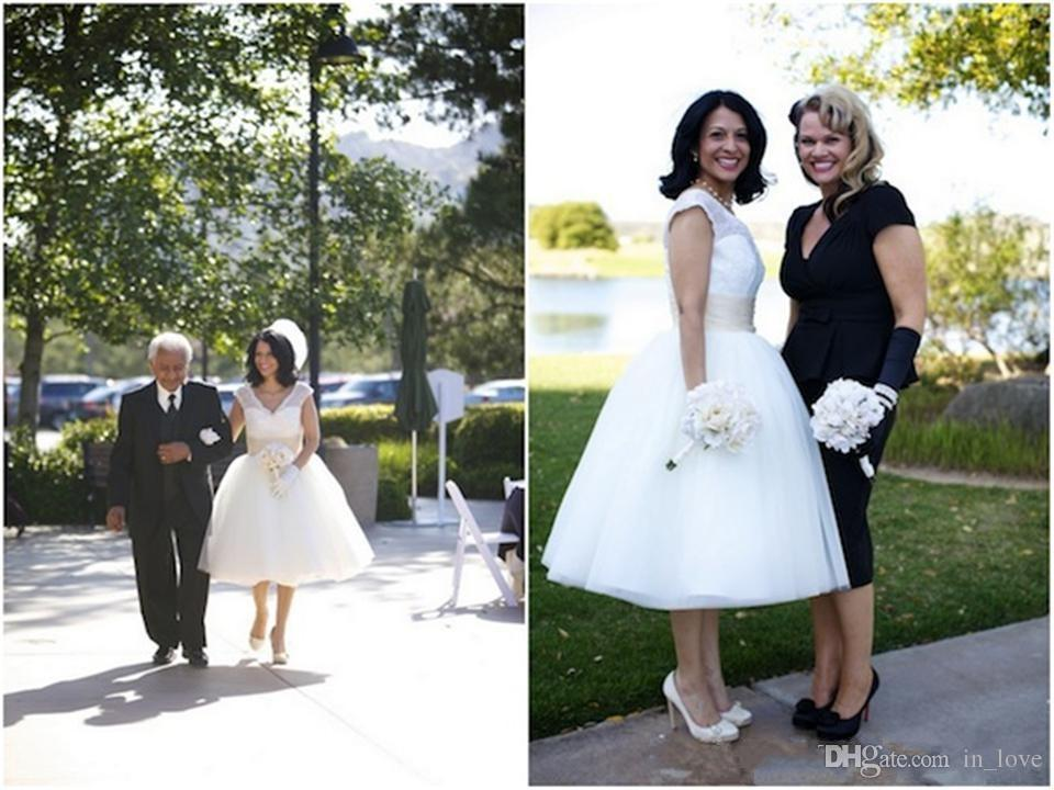 Vintage 50s Wedding Dresses Cap Sleeve V Neck Champagne Belt Lace Tea Length Bridal Gowns vestido de noiva Custom Size