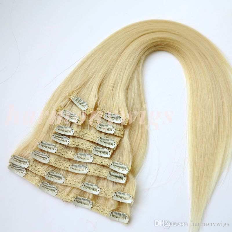 120 г 10 шт./1 компл. клип на наращивание волос двойной утопить #613 / отбеливатель блондинка 20 22 дюйма прямые бразильские наращивание человеческих волос