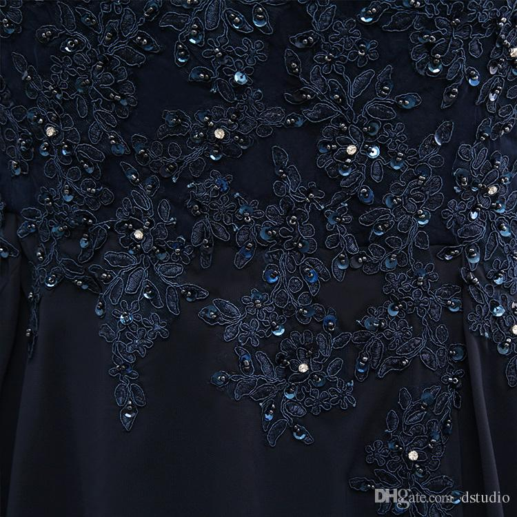 2017 New Arrival Dark Navy Mother of the Bride Dresses Plus Size Scoop Long Sleeves Chiffon Sheer with Applique Shining Sequins Beads
