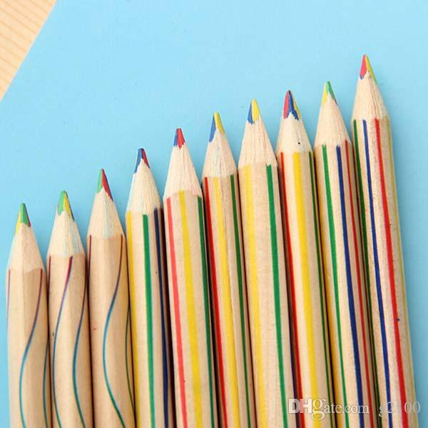 High Quality 4 in 1 Colour Pencil Rainbow Pencils Drawing Painting Pen Student Stationery Children Kid Writing Pens