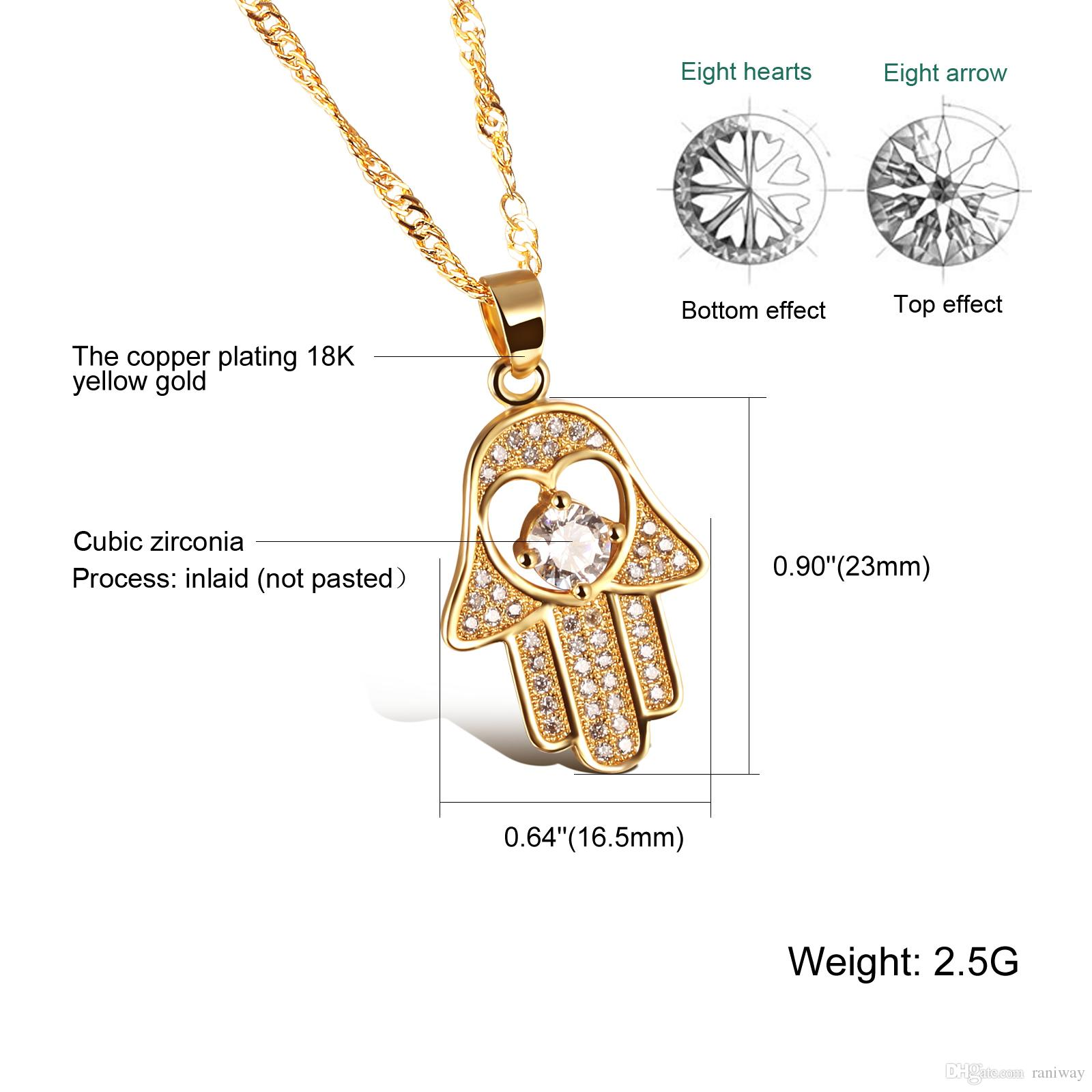 Good Luck Protection Hamsa Fatima Hand Cubic Zirconia Pendant Necklace Gold Plated/ Platinum Plated Finish